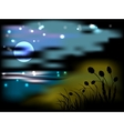 Night landscape with moon and stars vector