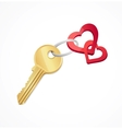 House keys with red heart key chain vector