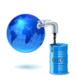 Metal barrel with oil faucet and globe vector