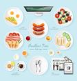 Infographic food business breakfast flat lay idea vector