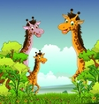 Giraffe cartoon with forest background vector
