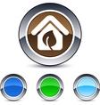 Green home round button vector