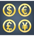 Dollar euro pound and yen gold signs collection vector