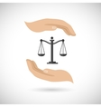 Hands hold law scales vector
