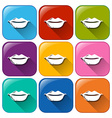 Buttons with kissable lips vector