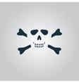 Cartoon skull with bones icon vector