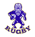 Maori mask rugby player running with ball fending vector