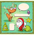 Reindeer owl and santa isolated with speech bubble vector