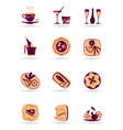Drinks dishes appetizers and desserts vector