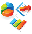 Isometric icons of charts vector