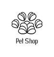 Original pet shop logo with pet paw vector