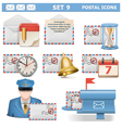 Postal icons set 9 vector