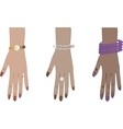 Woman hands with accessories vector