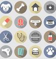 Modern flat design dog icons set vector