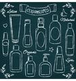 Chalkboard cosmetic bottles set 1 vector