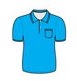Blue polo shirt outline vector