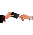 Male hand pass black business card to other male vector
