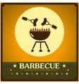 Retro barbecue grill poster design menu background vector