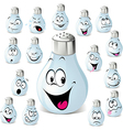 Salt shaker cartoon with many expressions vector