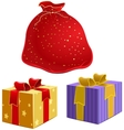 Red bag with gifts and the box with ribbon vector