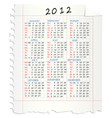 2012 calendar on a squared mathematical paper vector