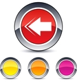 Back arrow round button vector