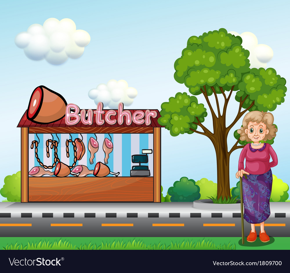 An old woman near the butcher house vector | Price: 1 Credit (USD $1)