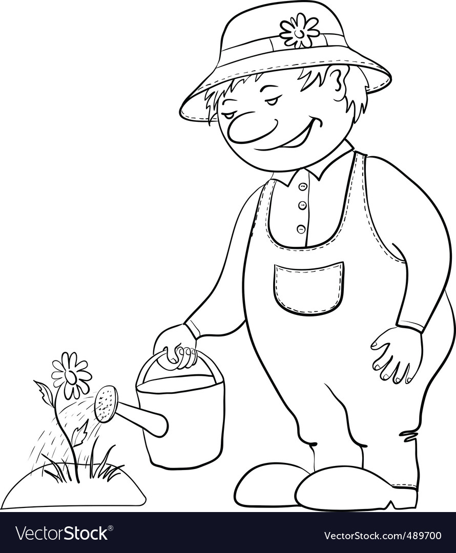 Gardener waters a flower contour vector | Price: 1 Credit (USD $1)