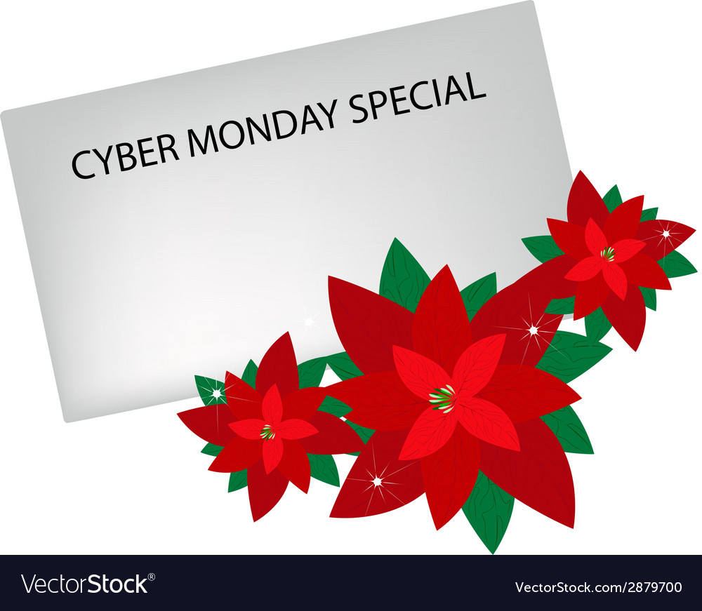 Lovely red poinsettia flowers with cyber monday vector | Price: 1 Credit (USD $1)