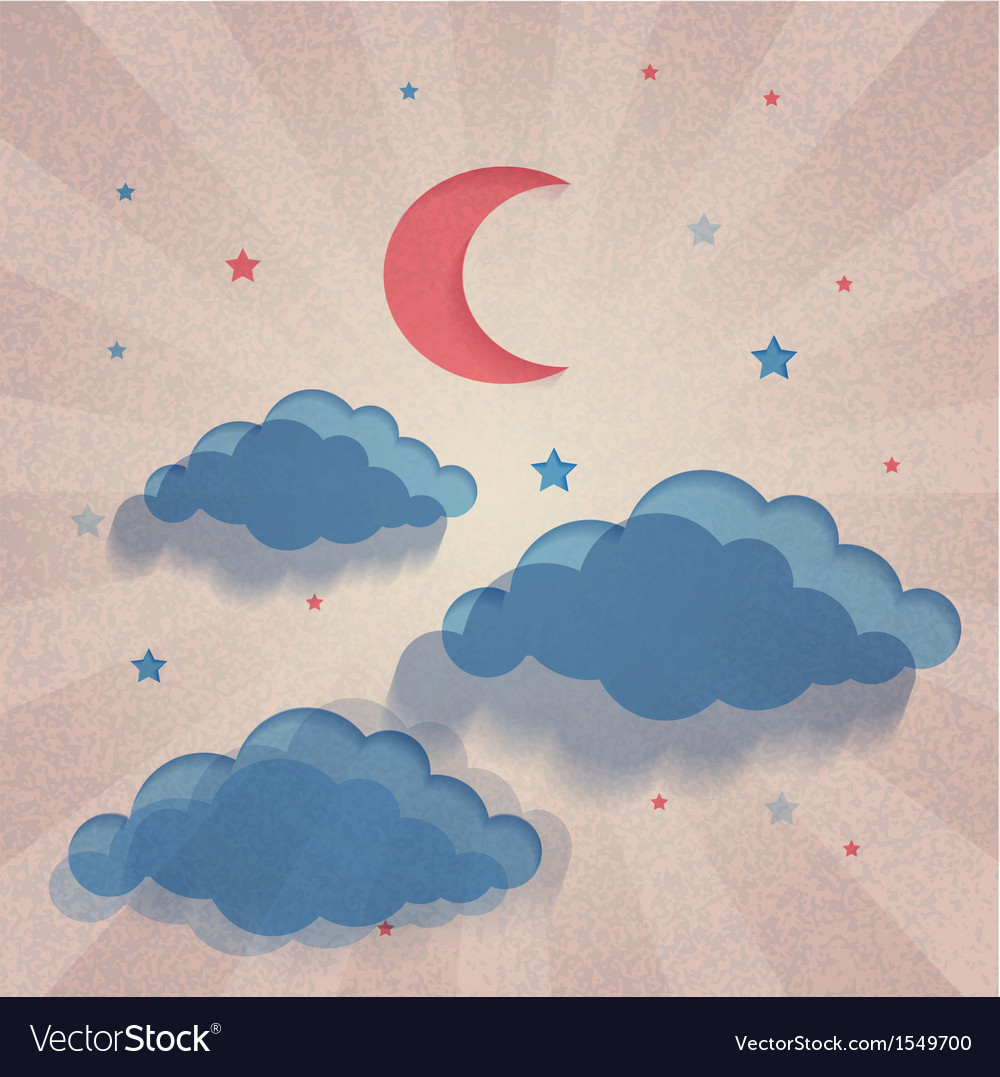 Old paper background with moon stars and sea vector | Price: 1 Credit (USD $1)