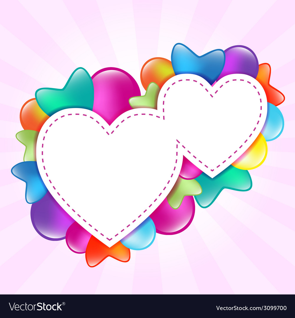Paper hearts with colored balloons vector | Price: 1 Credit (USD $1)