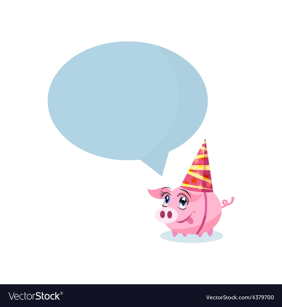 Pig in holiday hat with massage area for your text vector | Price: 1 Credit (USD $1)