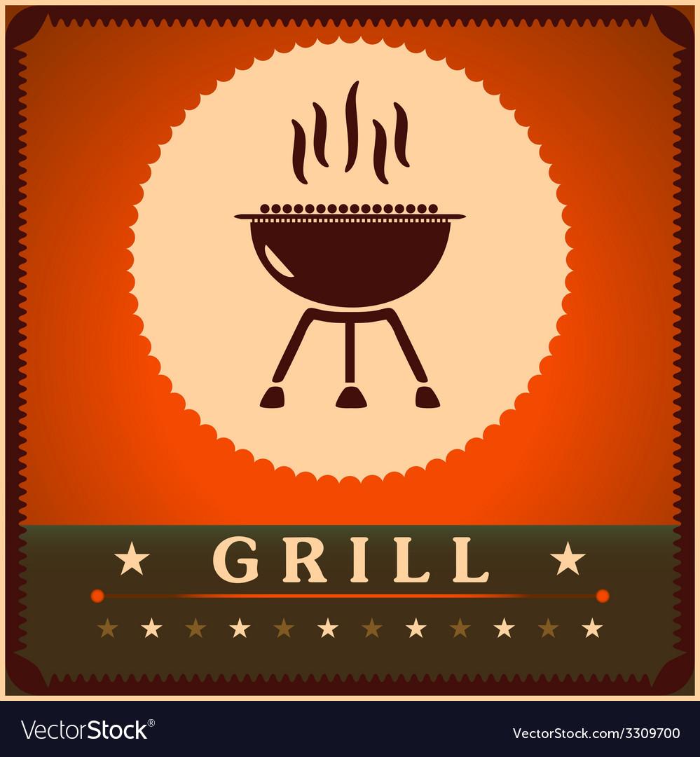 Retro grill menu card design template poster vector | Price: 1 Credit (USD $1)