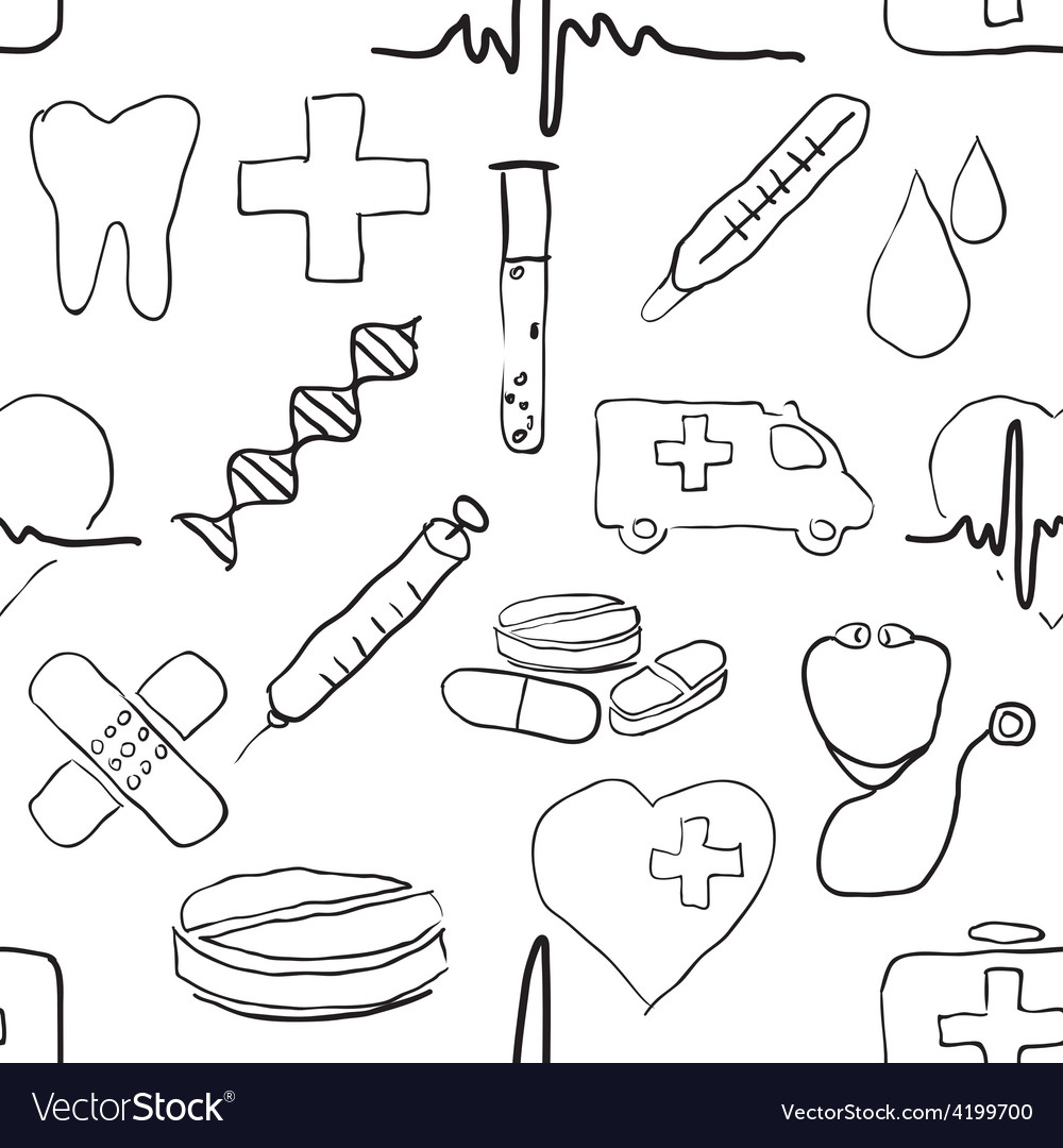 Seamless doodle medical pattern vector | Price: 1 Credit (USD $1)