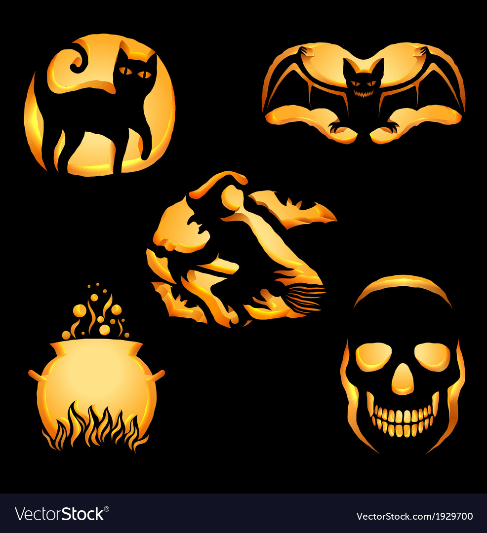 Set of jack o lanterns vector | Price: 1 Credit (USD $1)