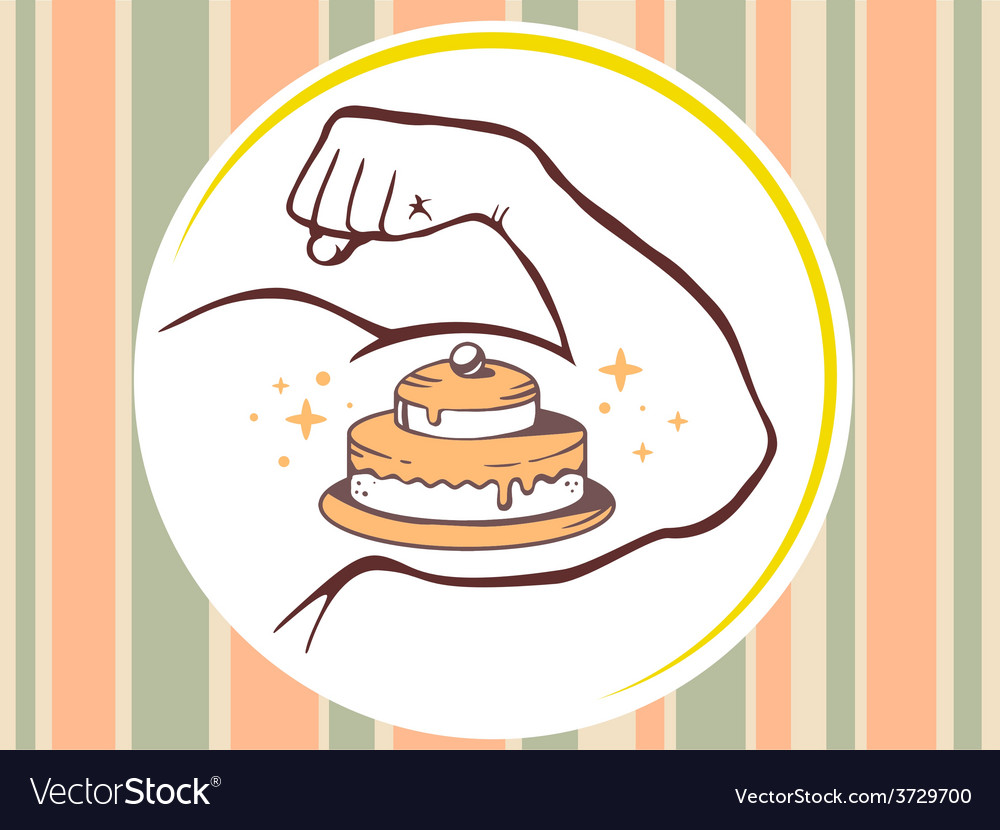 Strong man hand with icon of cake on pat vector | Price: 1 Credit (USD $1)