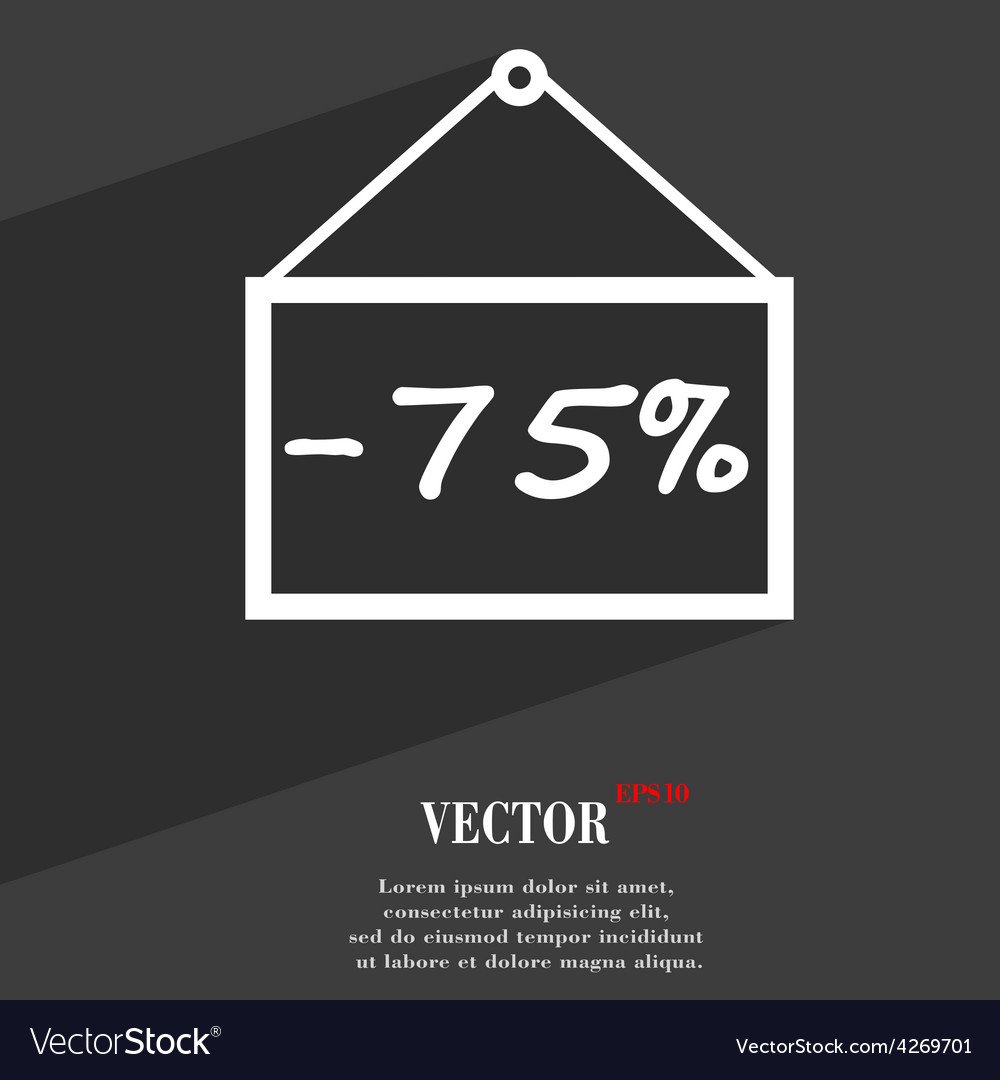 75 discount icon symbol flat modern web design vector | Price: 1 Credit (USD $1)