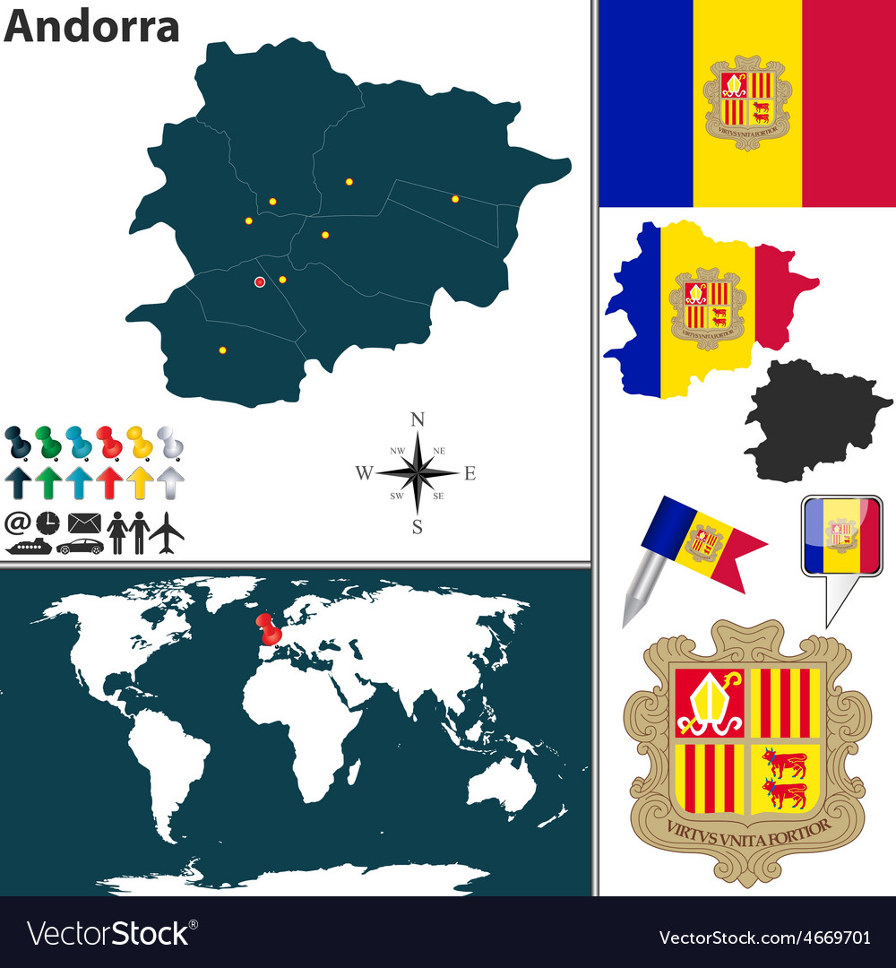 Andorra map world vector | Price: 1 Credit (USD $1)