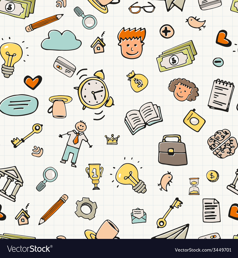 Business doodle seamless vector   Price: 1 Credit (USD $1)