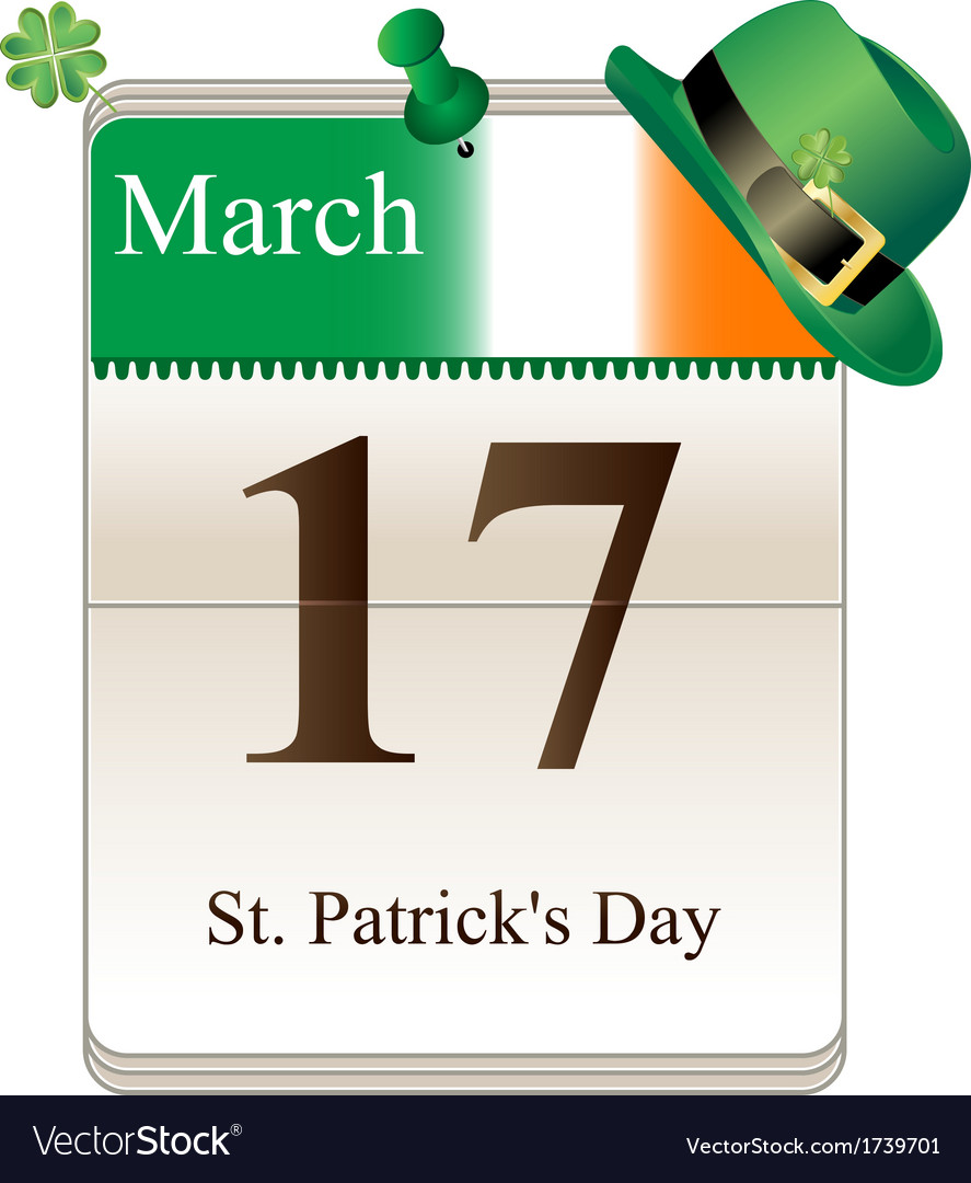 Calendar of st patricks day with hat vector | Price: 1 Credit (USD $1)