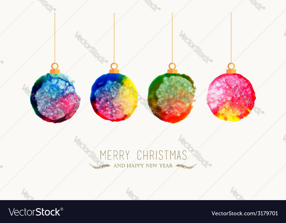 Christmas bauble watercolor greeting card vector   Price: 1 Credit (USD $1)