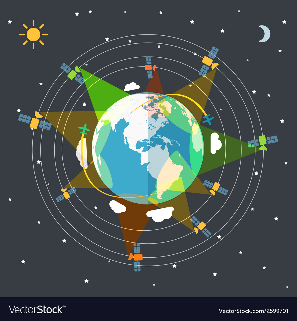 Flat design of the earth in space and satellites vector | Price: 1 Credit (USD $1)