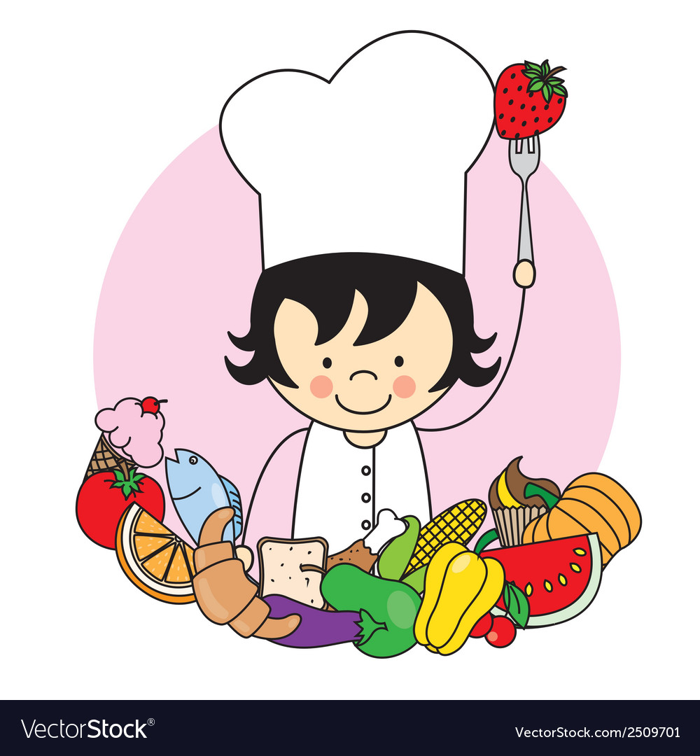 Girl with food healthy vector | Price: 1 Credit (USD $1)