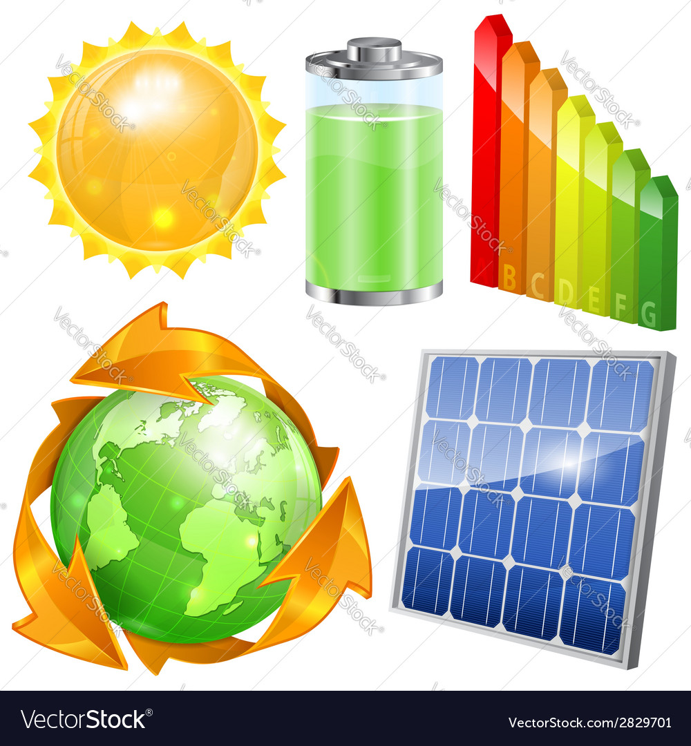 Green energy set vector | Price: 1 Credit (USD $1)