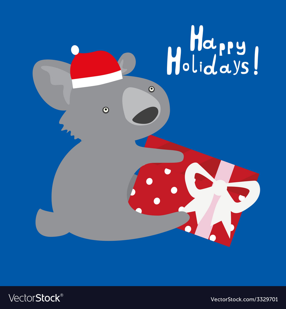 Holiday card with cute koala vector | Price: 1 Credit (USD $1)