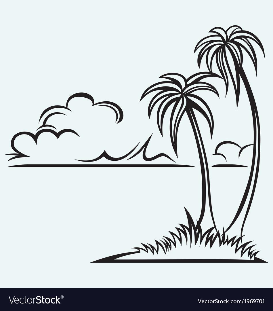 Island palm vector | Price: 1 Credit (USD $1)