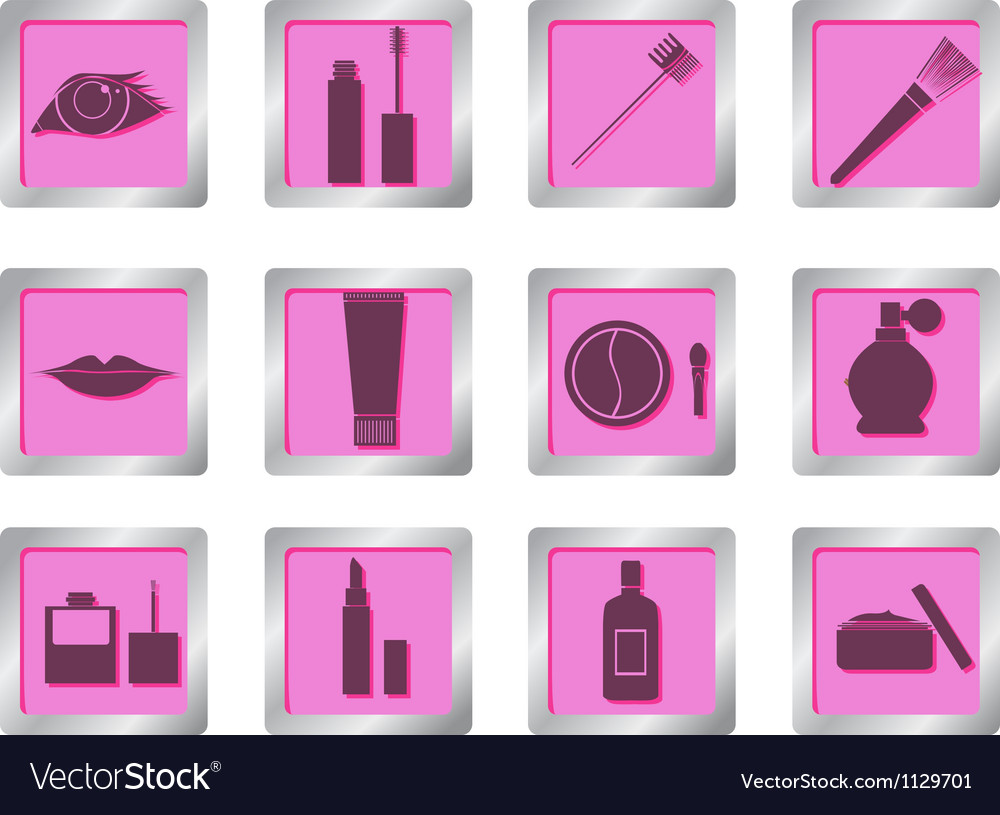 Makeup icons on square buttons vector | Price: 1 Credit (USD $1)
