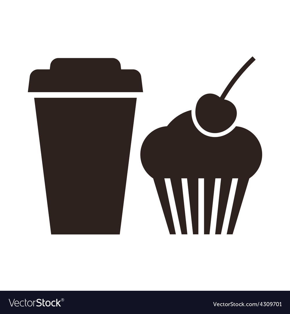 Muffin and coffee to go icon vector   Price: 1 Credit (USD $1)