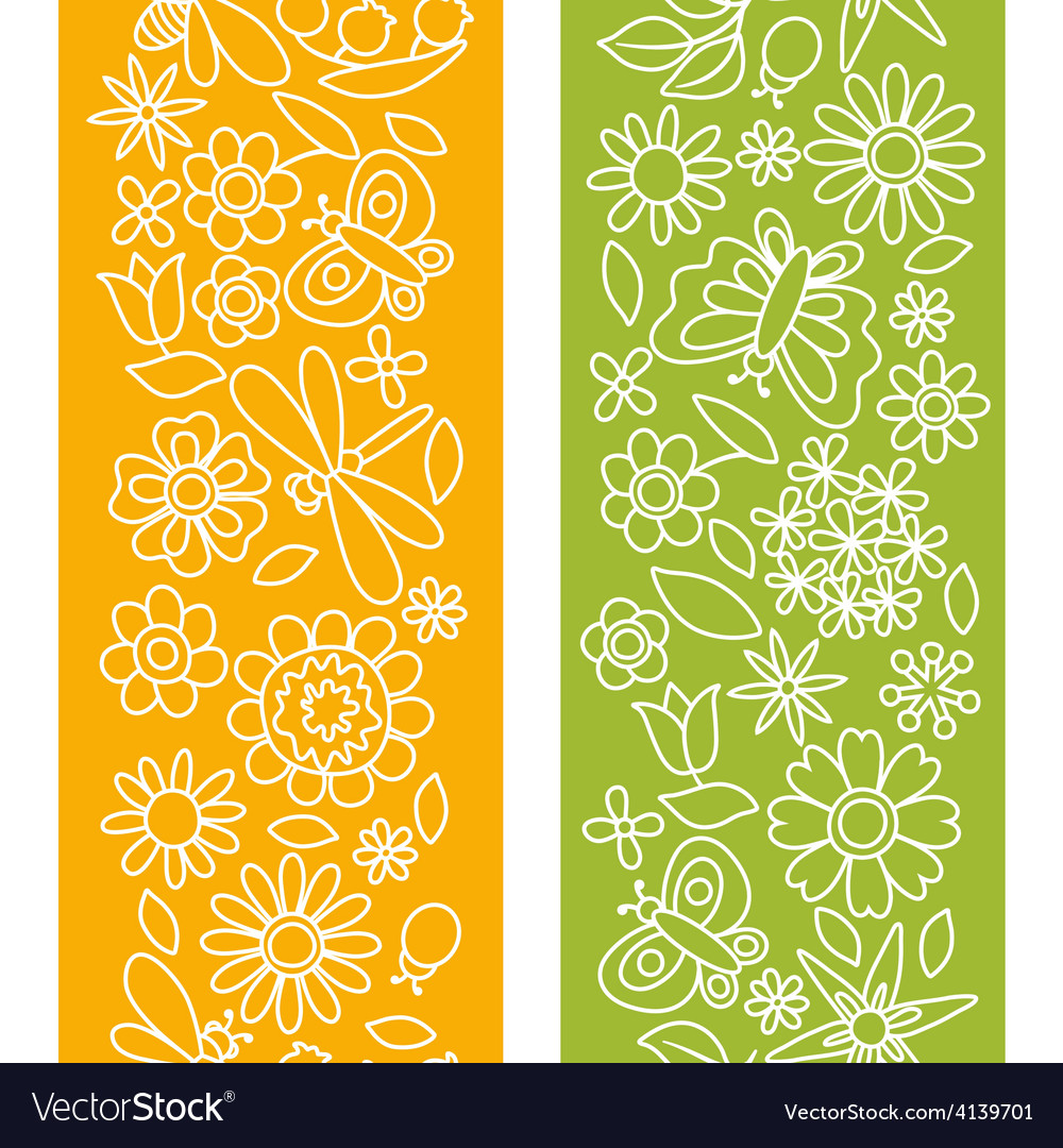 Natural pattern with beautiful flowers beetles vector | Price: 1 Credit (USD $1)