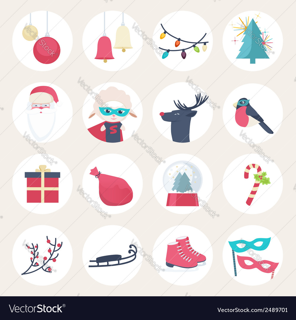 Set of colourful new year icons vector | Price: 1 Credit (USD $1)